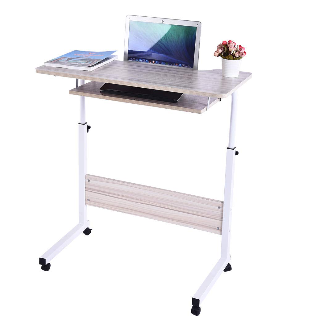 Crazypig Writing Computer Desk, Home Office Desk Can Be Raised and Lowered Mobile Computer Desk by Crazypig