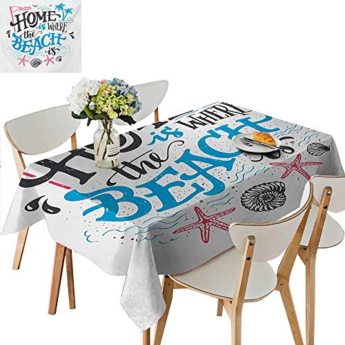 Polyester Tablecloths,Tropical Summer Theme Home is Where The Beach is Phrase Tablecloth for Home Use Multi Colors Machine Washable,45W x 84.5L Inches Teal and Brown ()