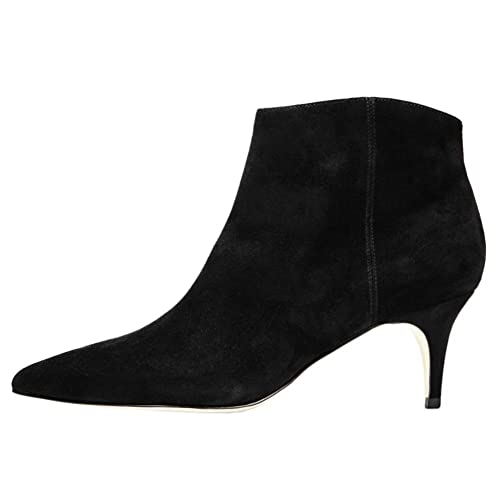 c53c4e60bfd VOCOSI Women's Suede Ankle Boots Kitten Heel Pointy Toe Fashion ...