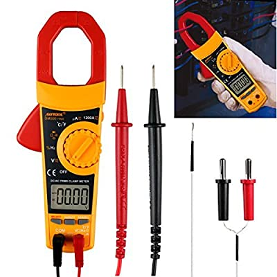 Digital Clamp Meter Multimeter Auto/Manual Ranging Multimeter Tester AC DC Volt Amp Ohm Temperature Capacitance Diode Test 6000 Count True RMS 1200A Amp
