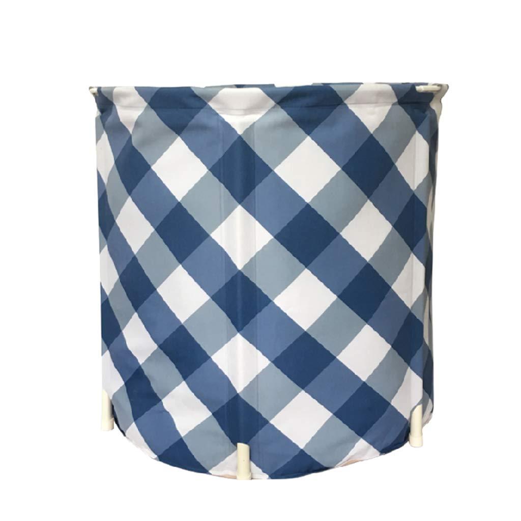 65X65cm Portable Bathtub for Adults-Folding Bathtub Plaid Pattern Thick Detachable SPA Outdoor Shower PVC