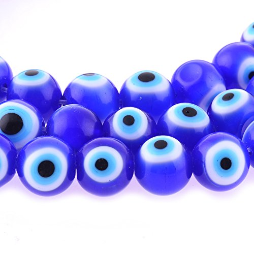 Eye Bead Bracelet (10mm 200 Pcs Blue Evil Eye Glass Beads of Jewelry Findings for Bracelet ,Necklace or Others)