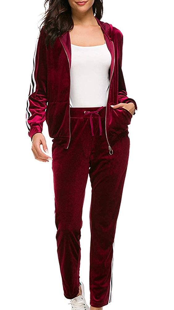 Women's Velour Stripe Jogging Zipped Hoodie, Fashion Sport Suit, Hoodie and Pants Sports Suits Tracksuits