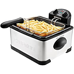 Chefman Deep Fryer with Basket Strainer Perfect for Chicken, Shrimp, French Fries and More, Removable Oil Container and Rotary Knob for Adjusting the Temperature