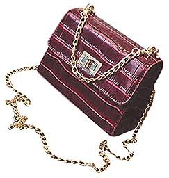 ilishop PU Handbags Croco Print Top-Handle Bag (Red)