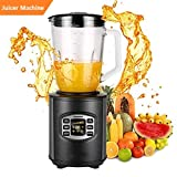 Juicer Machine, Juice Extractor 80MM Wide Mouth Masticating Juicer for Fruit and Vegetables, Multi-functional 1.5L Electric Blender Glass Jar Brushed Stainless Steel 800W Home Kitchen (Black 2)