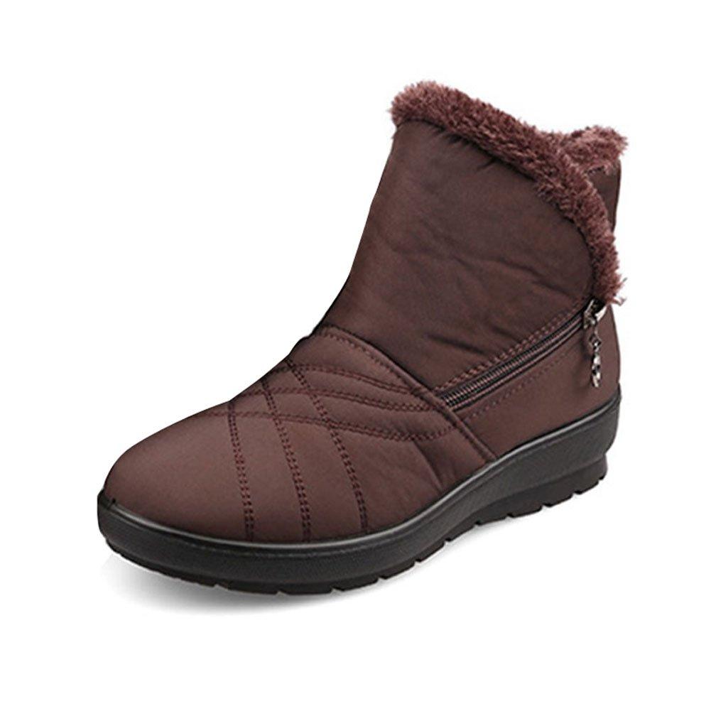 Gaatpot Bottes Courtes de Neige Bottines Chaussures Femme 2018 Hiver Bottes Chaudes Fourrees Cheville Plates Boots Talon imperm/éables