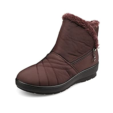 869ff53a8ad7 Gaatpot Womens Fur Lining Winter Warm Snow Boots Comfy Flats Waterproof Non-Slip  Ankle Short Boots Low Heel Boots Shoes Size  Amazon.co.uk  Shoes   Bags