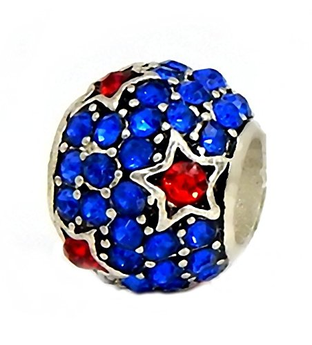 - J&M Sapphire Blue Crystal Spacer Bead with Red Stars for Charms Bracelets