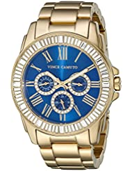 Vince Camuto Womens VC/5158BLGB Swarovski Crystal Accented Multi-Function Gold-Tone Bracelet Watch