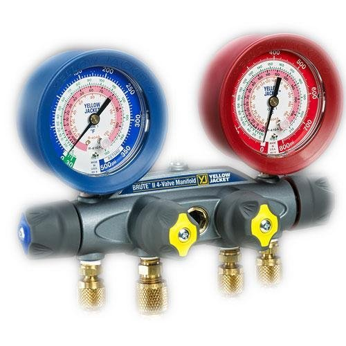 Yellow Jacket 46160 Brute II Manifold with Anchor and 1/4'' Service Fittings, bar/psi, R-410A, Red/Blue Gauge