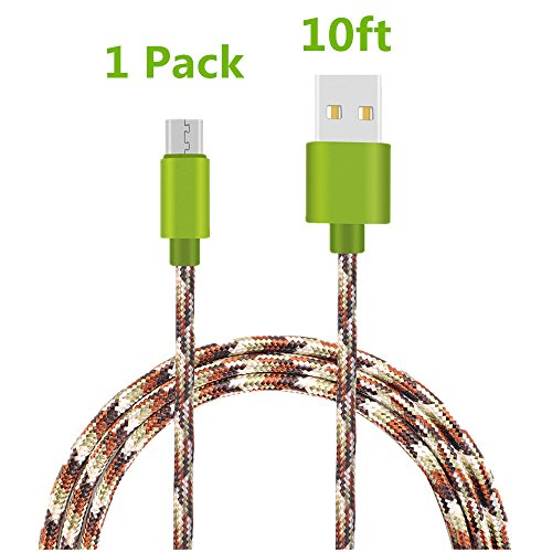 Micro USB Cable, TOODAY 10FT Nylon Braided High Speed 2.0