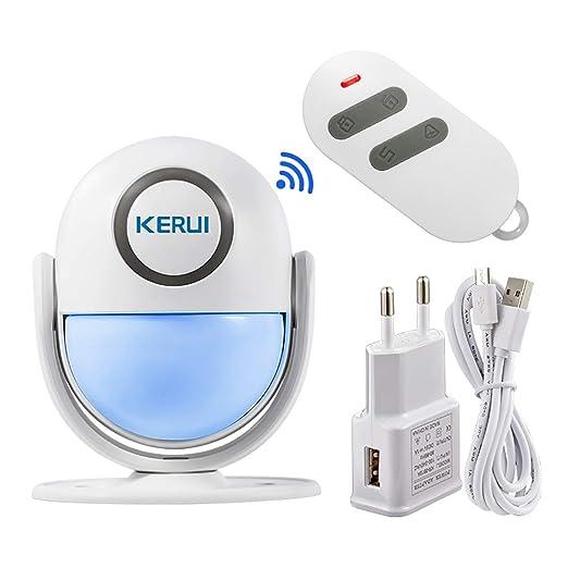 KERUI WP6 Sensor Alarma Casa WiFi Inalámbrico Control por APP, Sistema Alarma Puerta Antirrobo con 125 dB Sirena y Luces, Detector de Movimiento ...