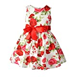 YOUNGER TREE Baby Little Girls Floral Dress Sleeveless Back Zipper Dresses Bow-Knot Summer Flower Outfits (18-24 Months, White)