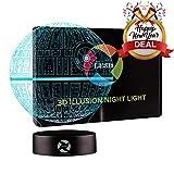 3D Optical Illusion Night Light - 7 LED Color Changing Lamp - Cool Soft Light Safe for Kids - Solution for Nightmares - Star Wars Death Star