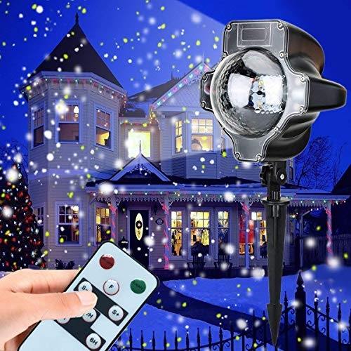Snowfall Light Projector, AVEKI Rotating Waterproof White Snowflake Fairy Landscape Projection Lights with Wireless Remote for Outdoor Wedding Christmas Halloween Holiday Outside Decoration (Black)