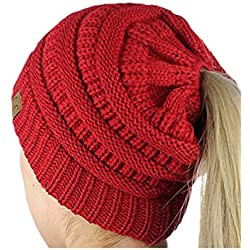 Women Crochet Pattern BeanieTail Knit Ponytail Messy Bun Hat Red One Size