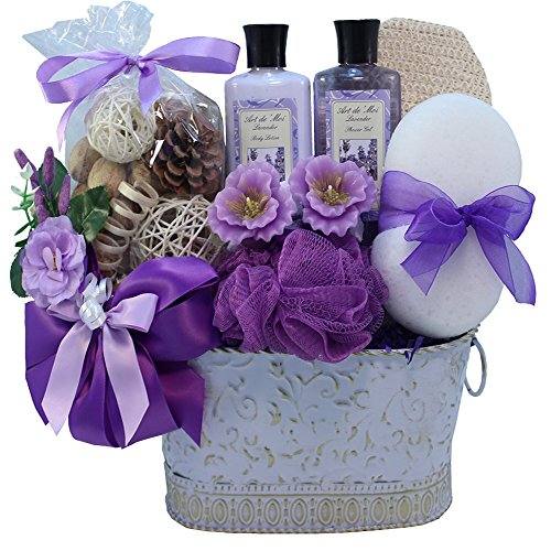 Lavender Renewal Spa Relaxing Bath and Body Gift Basket Set, Medium