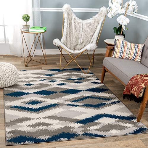 Rugshop Sky Collection Distressed Modern Geometric Area Rug 5 x 7 Gray
