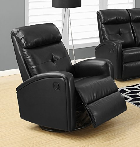 Full Swivel Leather Glider Recliner (Monarch I 8088Bk Swivel Glider Recliner, Black)