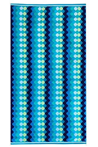 Espalma Cotton Diamond Weave Oversized Beach Towel Clearance, Over Sized Large Luxury 31 x 68 Plush Velour and Absorbent Cotton Terry Pool, Spa, Beach Towel Clearance - Cool Blue/Green