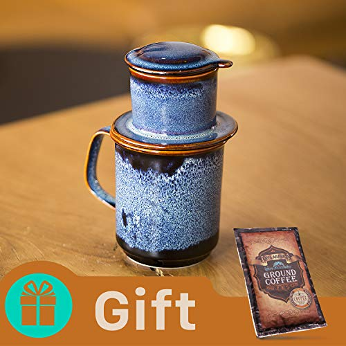 ANNI Ceramic Vietnamese coffee drip filter set (Ocean Wave ) BONUS Ground Coffee Blue Mountain 56Gr (Vietnam Tea Set)