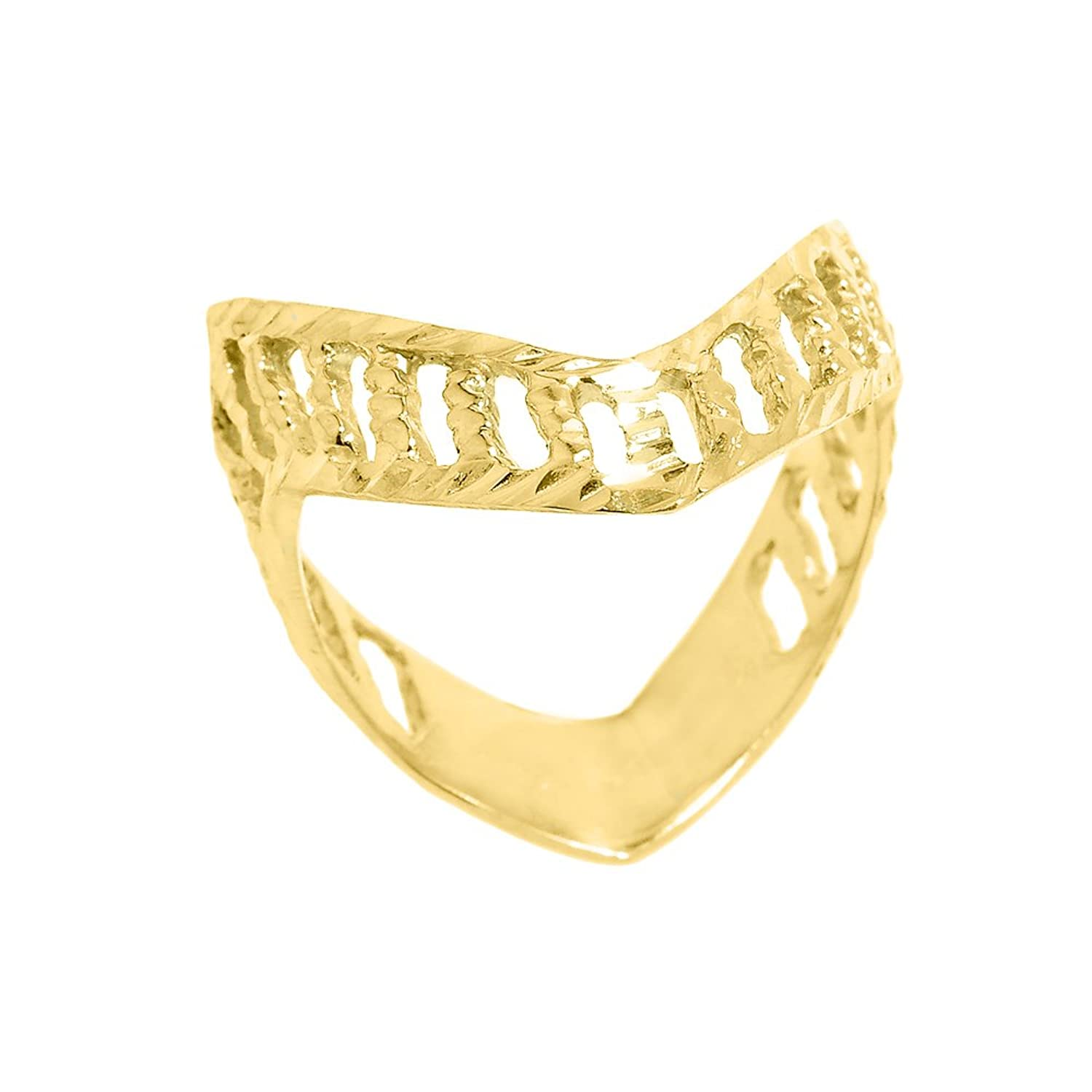 Polished 10k Yellow Gold Open Design Band Thumb Ring