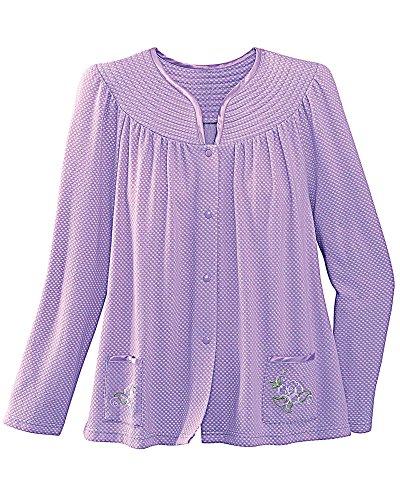 National Trapunto Yoke Bed Jacket, Lavender, X-Large