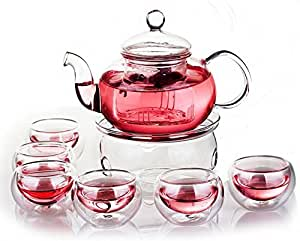 Glass Filtering Tea Maker Teapot with a Warmer and 6 Tea Cups (25 * 15 * 11cm, red1)