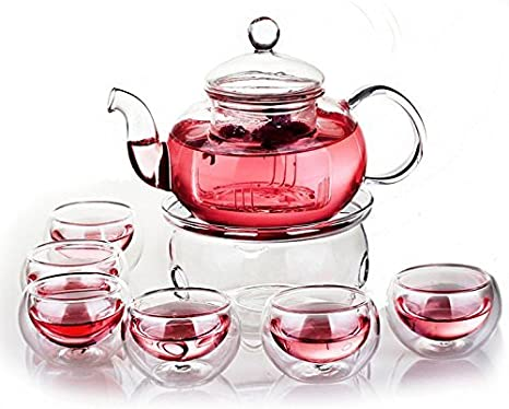 The Sunrise*Glass Filtering Tea Maker Teapot with a Warmer and 6 Tea Cups (25 * 15 * 11cm, red1) (4 Cups)