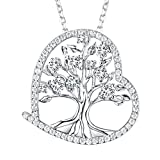 """Love Heart the Tree of Life Necklace Gifts for Women Simulated Diamond Fine Jewelry Birthday Anniversary Gifts for Her for Wife Gifts for Fiancee Grandma, Sterling Silve 18""""+2'' Chain"""