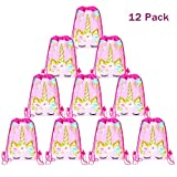 12 Pack Unicorn Drawstring Party Bag, Unicorn Party Favors Bags Drawstring Backpacks Gifts Bags Birthday Party Supplies Favor Bag for kids Children Girls Baby Shower