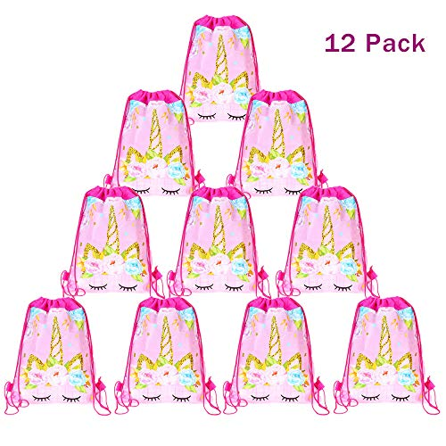 12 Pack Unicorn Drawstring Party Bag, Unicorn Drawstring Backpacks Gifts Bags Birthday Party Supplies Favor Bag for kids Children Girls Baby Shower