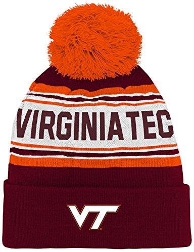 NCAA by Outerstuff NCAA Virginia Tech Hokies Kids & Youth Boys Jacquard Cuffed Knit Hat w/ Pom, Maroon, Kids One Size