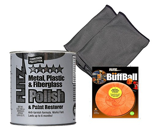Flitz 2 lb Quart Can + Large Orange Buff Ball + 2 - On Out Buff Car Can Scratches You