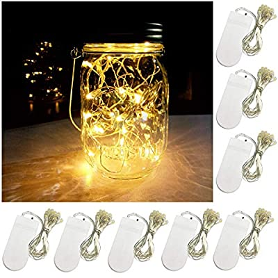 Yitee 8 PCS LED String Light, Battery Operated 20 Starry LED Copper Wire Lights, 6.5 Feet/2M,Best for Mason Jar Lights,Moon Lights,Party,Wedding and Home Decoration
