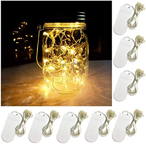 Yitee Battery Powered Mason Jar Lantern Lights,8 Pack Warm White 20 Led String Fairy Star Firefly Jar Lights,for Mason Jar Wine Bottle Home Patio Garden Wedding Christmas Moon Table Decor Lights