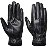SANKUU Men's Winter Gloves Leather Touchscreen with Snap Closure Cycling Glove Outdoor Riding Warm Waterproof Gloves(L)