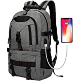 Laptop Backpack, Tocode Travel Backpack Contains Multi-Function Pockets,Stylish Anti-Theft School Bag with USB Charging Port Fits 17.3 Inch Laptop Comfort Pack for Men & Women -Dark Grey