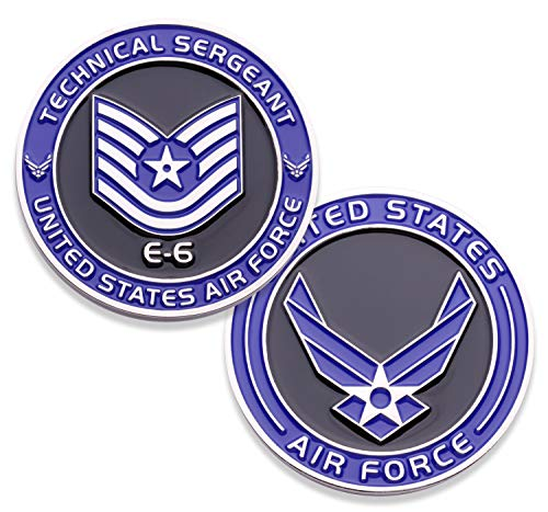 (Air Force Technical Sergeant E6 Challenge Coin! United States Air Force Tech Sergeant Rank Military Coin. E-6 USAF Challenge Coin! Designed by Military Veterans - Officially Licensed Product!)