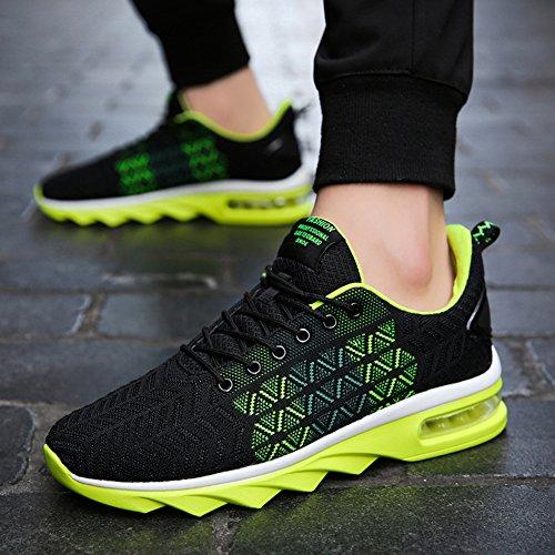 Herren Schwarz Mesh Luftkissen Trainingsschuhe und Strickmuster Leichte Atmungsaktive Sportschuhe Fashion Sneakers Grün