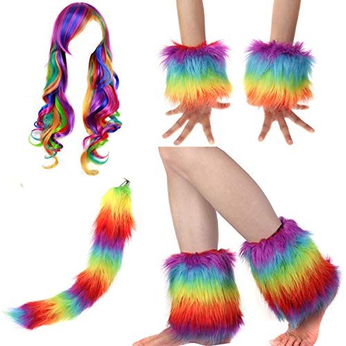 Adult Rainbow Costume Sets Wave Wig Long Gloves Stockings Tail Tutu Skirt Feather Headband (M)