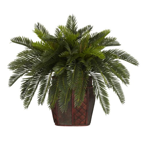 Cycas Plant - Nearly Natural 6658 Double Cycas with Vase Decorative Silk Plant, Green