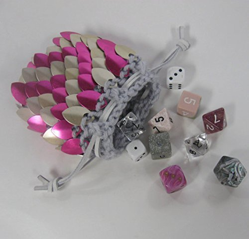 Dice Bag in Knitted Scale Armor - Pink ZigZag - Small by Crystal's Idyll