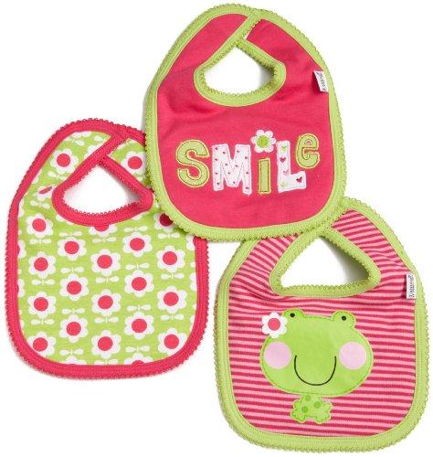 Lamaze Baby-Girls Newborn 3 Pack Flower Frog Interlock Bib
