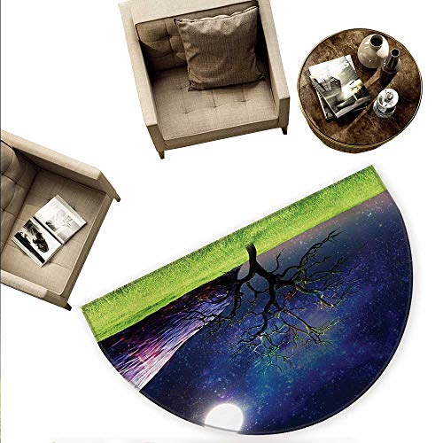 Tree Half Round Door mats Moon Illuminates A Tree Full Moon Galaxy Grass Creative Fantasy Illustration Print Bathroom Mat H 78.7