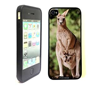 Kangaroo Mother and Joey In Pouch - Protective Designer BLACK Case - Fits Apple iphone 5 5s G