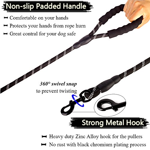 Bolux-5ft-Strong-Dog-Leash-with-Comfortable-Padded-Handle-Highly-Reflective-Threads-and-Heavy-Duty-Training-Durable-Nylon-Dog-Leash-for-Medium-Large-Dogs
