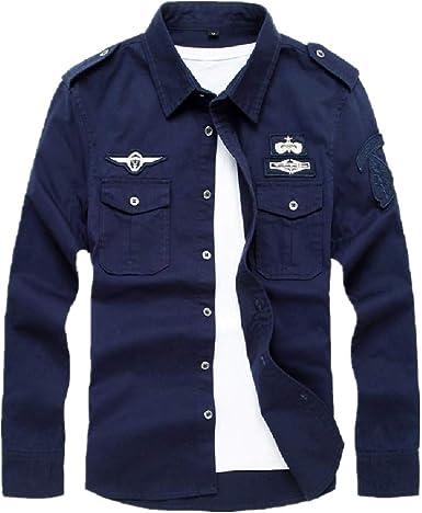 Camisa casual coreana de manga larga de algodón puro militar ...