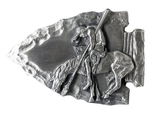 End of the Trail Indian Arrowhead Pewter Belt Buckle - End Of The Trail Belt Buckle
